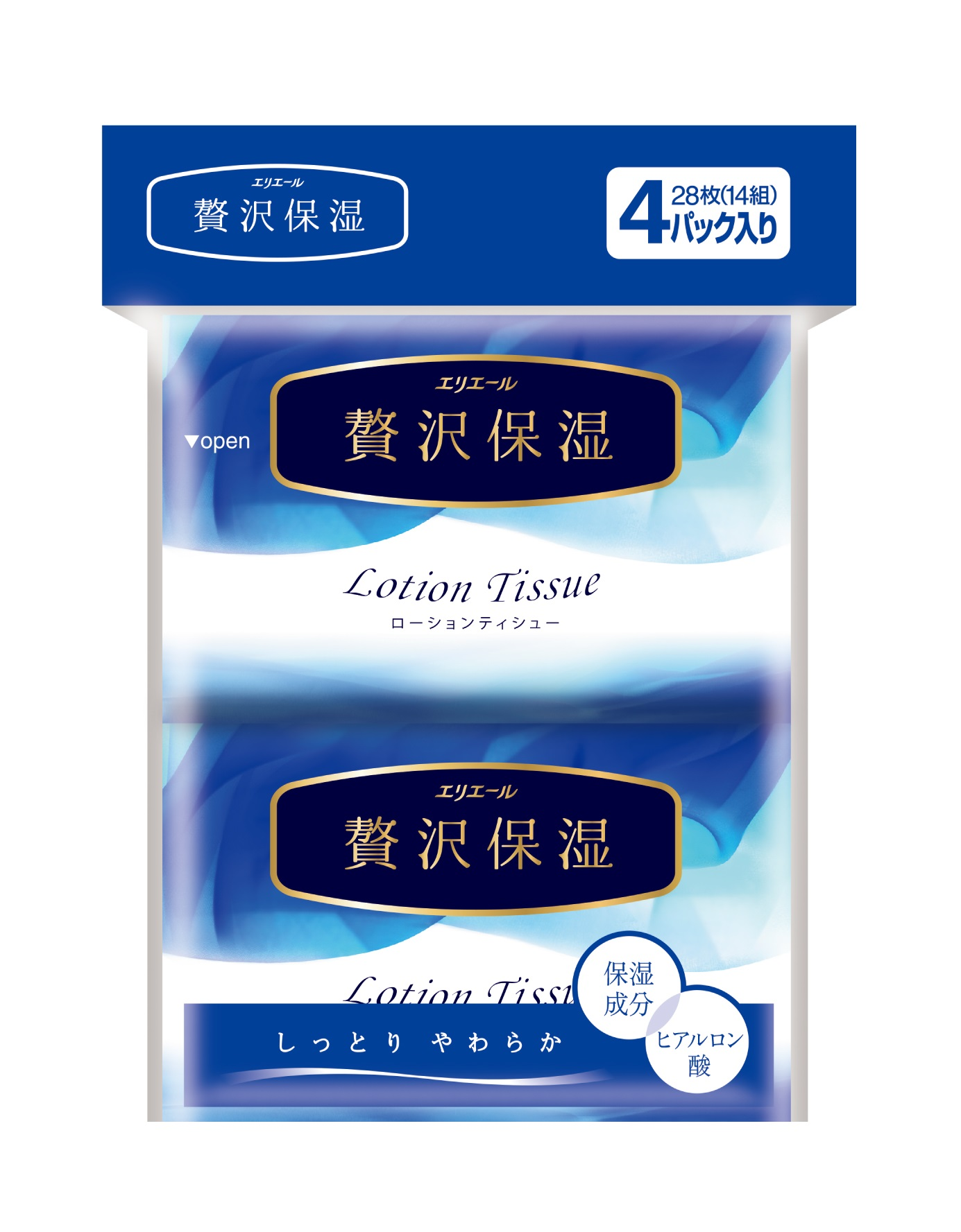 Салфетки Elleair (Элеар) бумажные неароматизированные Lotion Tissue с коллагеном и гиалуроновой кислотой 4 уп. по 14 шт.