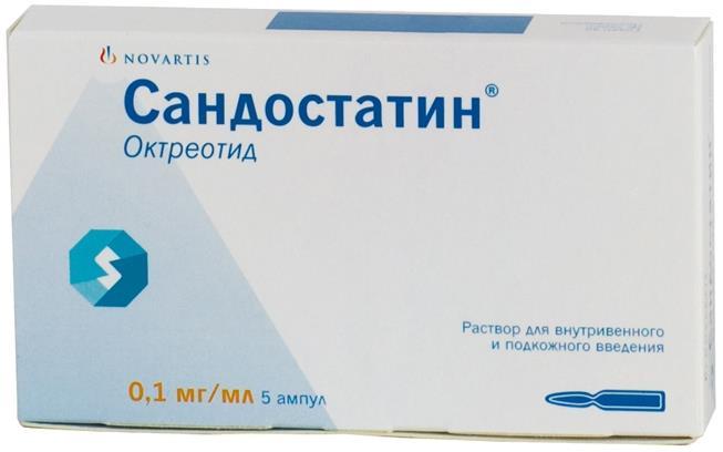 Сандостатин р-р в/в и п/к 0,1мг/мл 1мл n5