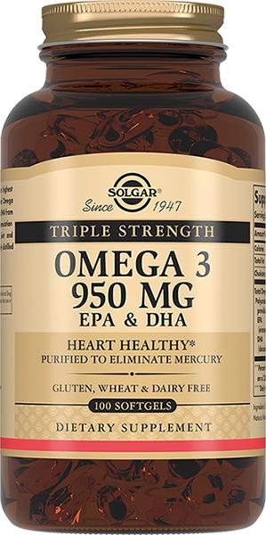 Солгар тройная омега-3 950 мг эпк и дгк капс. №100 (бад)