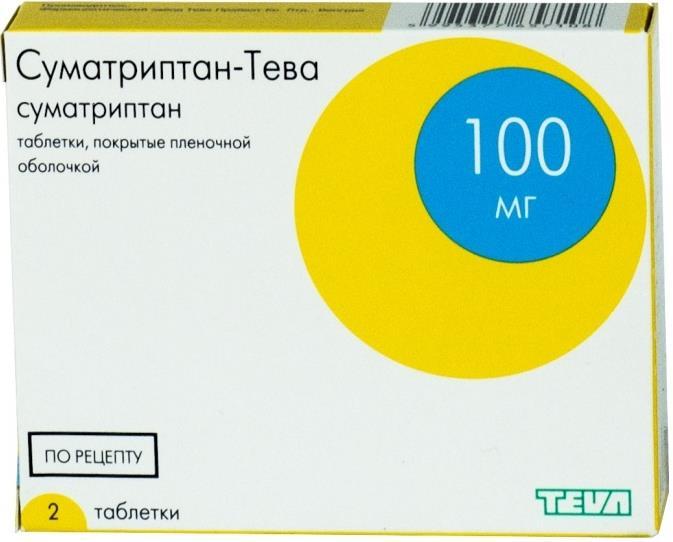 Суматриптан-тева таб. п.п.о. 100мг n2