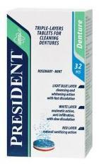 Таблетки д/очистки зубных протезов президент n32 (розмарин-мята)