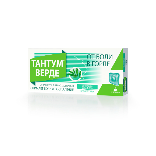 Тантум Верде табл. д/рассас. со вкусом эвкалипта 3 мг №20
