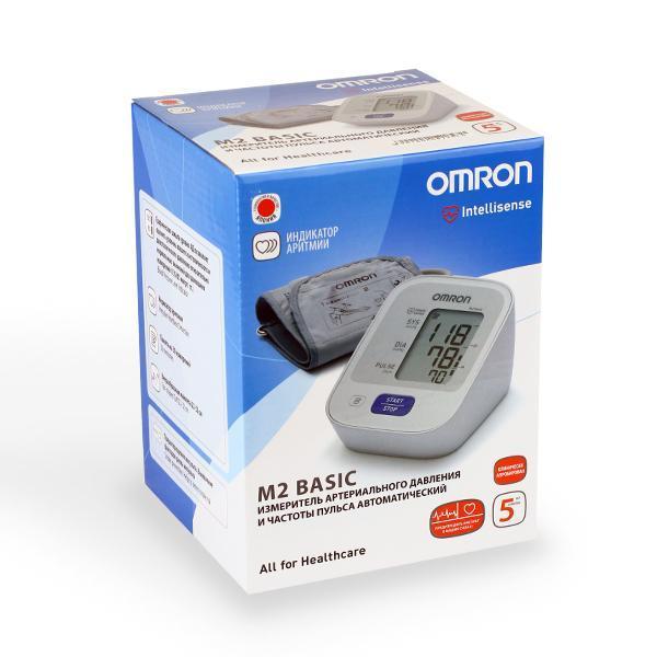 Тонометр / Измеритель артериального давления и частоты пульса Omron m2 basic (hem-7121-ru) автоматический