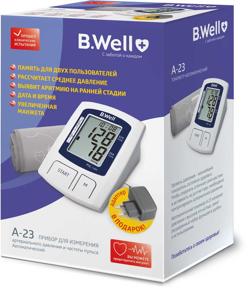 Тонометр (прибор для измерения артериального давления и частоты пульса) b.well a-23 автоматический