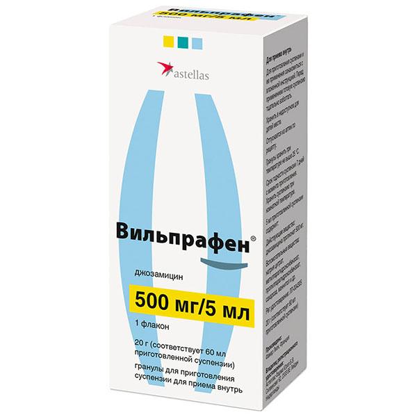 Вильпрафен гран. д/приг. сусп. д/приема внутрь 500мг/5мл фл. 20г