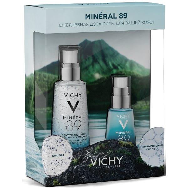 """Виши набор """"mineral 89""""гель-сывор. д/кожи, подверж. агресс. внешним воздейств.50мл+уход д/кожи вокруг глаз восст. и укрепл. 15мл"""