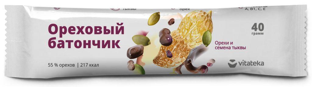 Витатека батончик мюсли орех, семена, тыква  40г (бад)