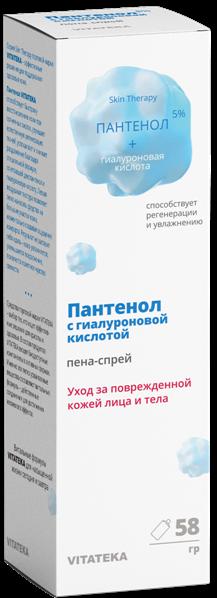 Витатека пантенол 5% с гиалуроновой кислотой пена-спрей vitateka фл.58 г.