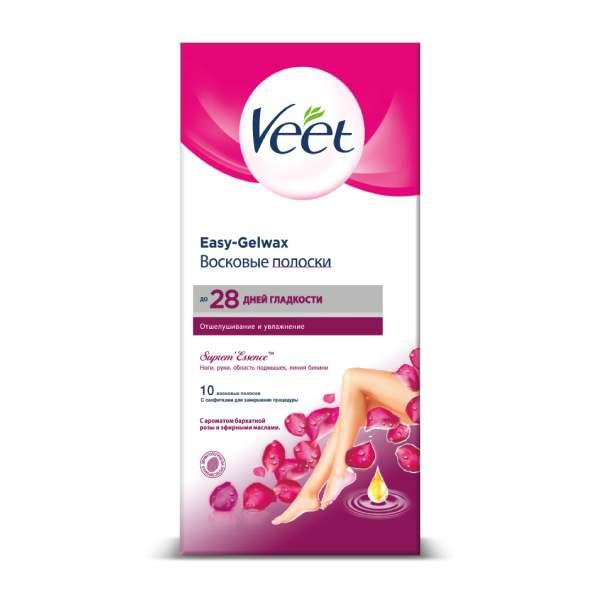 Вит/veet полоски восковые бархатная роза-эфирные масла n10