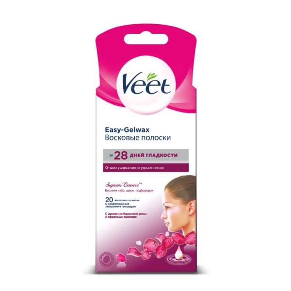 Вит/veet полоски восковые д/лица n18 бархатная роза-эфирные масла