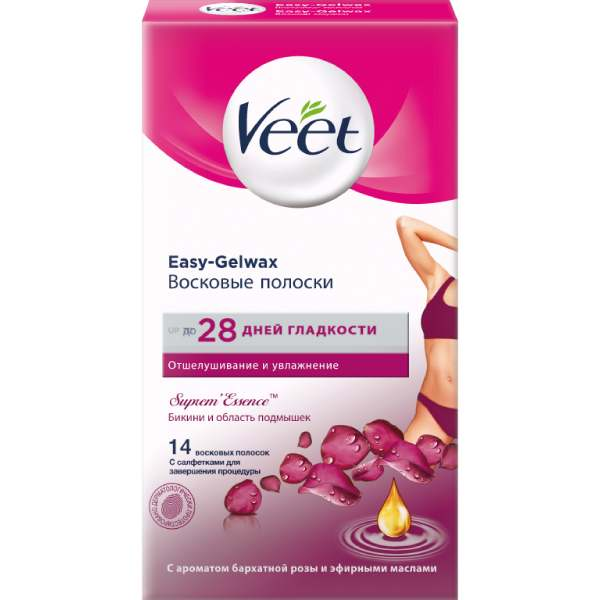 Вит/veet полоски восковые зоны бикини n14 бархатная роза-эфирные масла