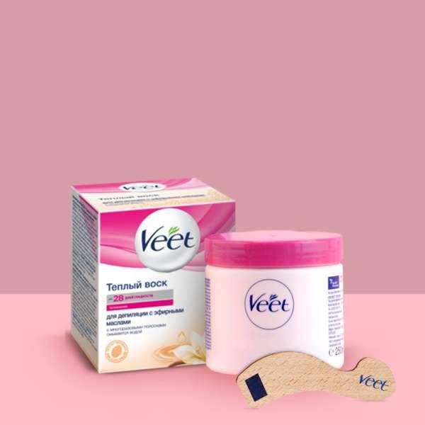 Вит/veet воск теплый д/депиляции эфирные масла 250г (+полоски n12+лопатка)