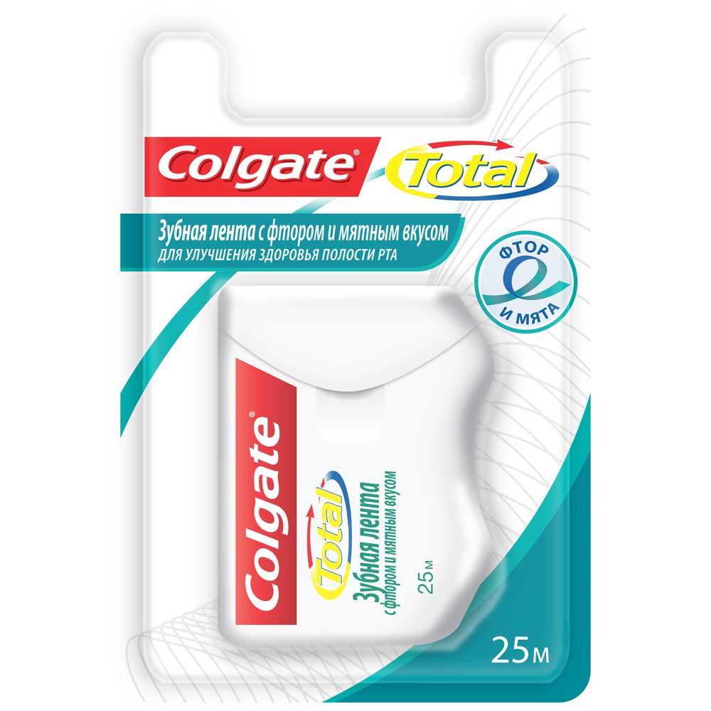Зубная нить-лента колгейт тотал фтор-мята 25м