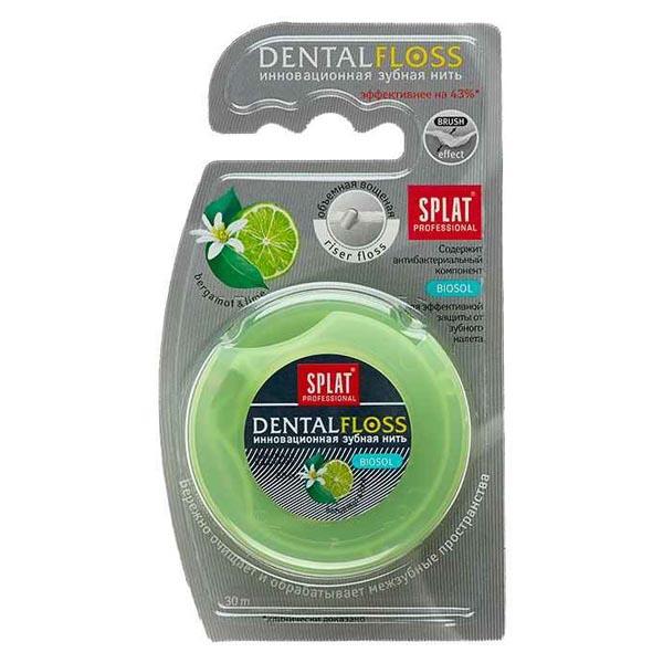 Зубная нить сплат профессионал денталфлосс вощеная объемная бергамот-лайм 30м